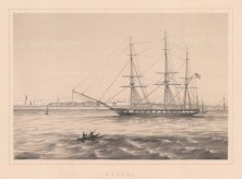 Madras: Panoramic view of the coast with a schooner at anchor.