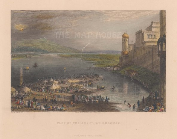 Hurdwar: View of the steps and inlet to the Ganges during the fair held in April.