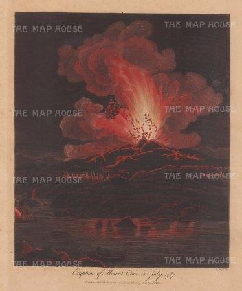 Mount Etna erupting in 1787. Engraved by John Pass.