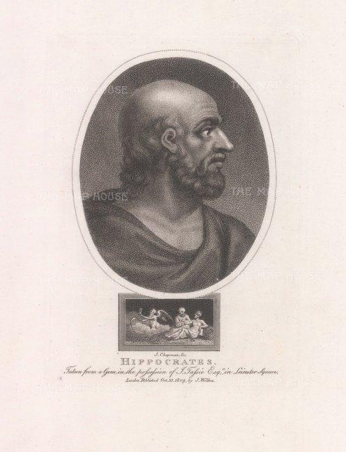 "Wilkes: Hippocratus. 1811. An original antique stipple engraving. 5"" x 7"". [LDNp10752]"