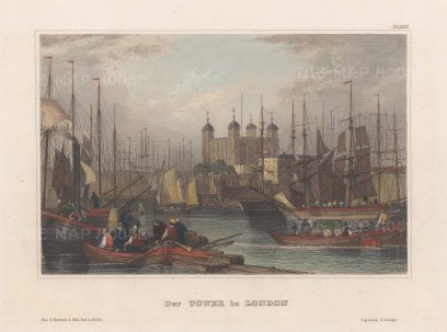 "Meyer: Tower of London. 1848. A hand coloured original antique steel engraving. 6"" x 4"". [LDNp10775]"