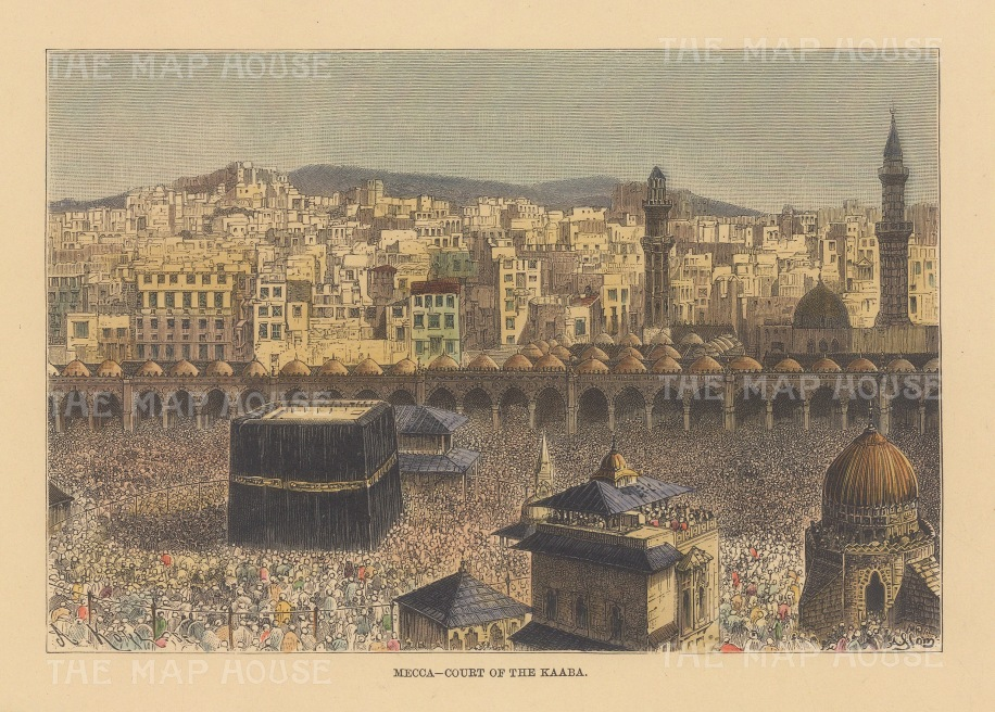 "Reclus: Mecca. 1894. A hand coloured original antique wood engraving. 8"" x 6"". [MEASTp1650]"