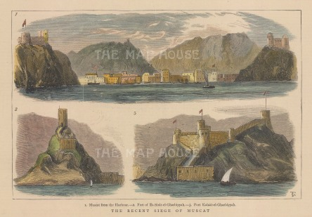 Oman: Muscat. View of the harbour. Fort Es-sarat-al-Gharbiyyah and Fort Kalaat-el-Gharbiyyah.