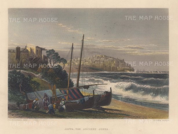 Jaffa or Joppa (Tel Aviv): Coastal view from the Mediterranean towards the city.