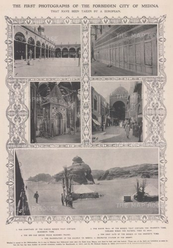 Medina: Four views of Al-Masjid al-Nabawi (Mosque of the Prophet), and a view of the desert station.