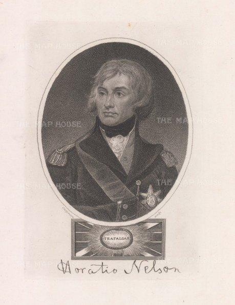 "Wilkes: Horatio Nelson. 1820. An original antique stipple engraving. 5"" x 7"". [MILp183]"