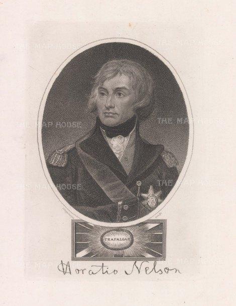 "Wilkes: Horatio Nelson. 1820. An original antique stipple engraving. 5"" x 7"". [MILp183]"