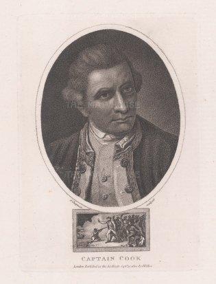 "Wilkes: Capt. James Cook. 1810. An original antique stipple engraving. 5"" x 7"". [NAVp120]"