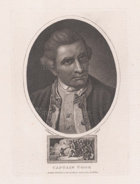 "Wilkes: Capt. James Cook. 1810. An original antique stipple engraving. 5"" x 7"". [NAVp120]"
