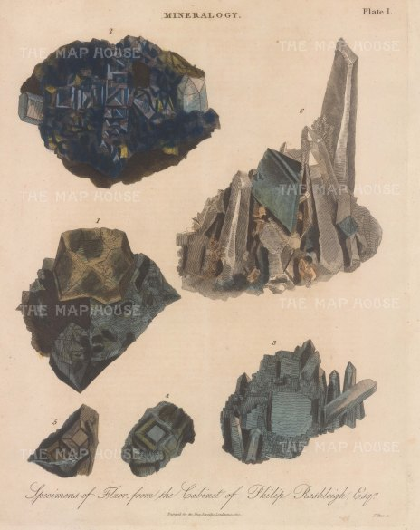 Fluor. Five examples of Fluor from the Poldice mine in Gwenaap. Engraved by John Pass.