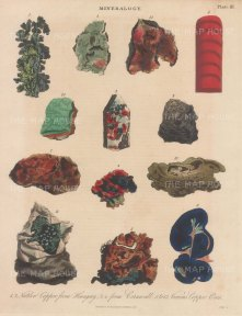 Copper from Hungary1, 2, Cornwall 3, 4, 5, Japan 6, Hepatic copper 7, Black vitrreous ore 8, Bue copper 9 Malachite 10 Copper in quartz 11, Copper pyrites 12, Yellow copper C fulvum