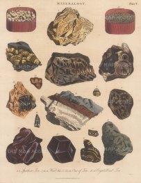 Tin. Spathose Tin 1,2, Wood Tin from Cornwall 3-7. Tooth Tin 8-11, Saxon Tin 12, Garnet Tin 13,, 14, Tin in shorl 15, Crystalised Tin 16, 17. Engraved by John Pass.