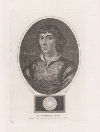 """Wilkes: Nicolas Copernicus. 1810. An original antique stipple engraving. 5"""" x 7"""". [SCIp78]"""