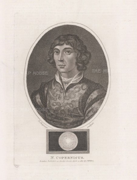 "Wilkes: Nicolas Copernicus. 1810. An original antique stipple engraving. 5"" x 7"". [SCIp78]"