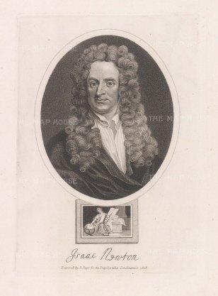 "Wilkes. Sir Isaac Newton. 1820. An original antique stipple engraving. 8"" x 11"". [SCIp79]"