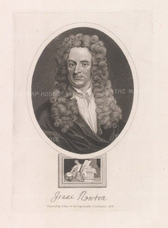 "Wilkes. Sir Isaac Newton. 1820. An original antique stipple engraving. 8"" x 11"". [SCIp79]"
