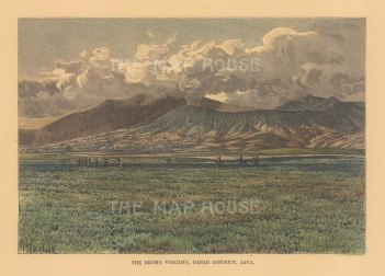 "Reclus: Mount Bromo, Java. 1894. A hand coloured original antique wood engraving. 8"" x 6"". [SEASp1720]"