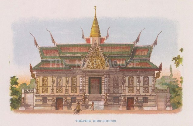 "Nicolas: Theatre Indo-Chinois. 1900. An original antique chromolithograph. 6"" x 4"". [SEASp1731]"