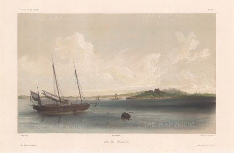 Malacca: View of Malacca City from the Straits. After Barthélemy Lauvergne, one of the artists on the voyage of La Bonite 1836-7.