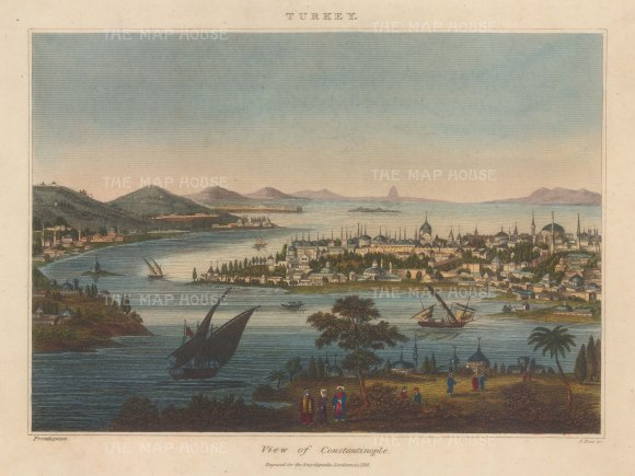 """Wilkes: Constantinople. 1810. An original hand coloured copper engraving. 11"""" x 8"""". [TKYp1351]"""