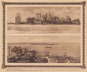 Double panorama from Governor's Island of the city, and towards Battery Park and Governor Island.