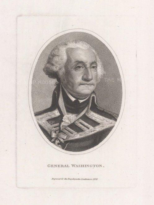 "Wilkes: George Washington. 1829. An original stipple copper engraving. 5"" x 7"". [USAp5001]"