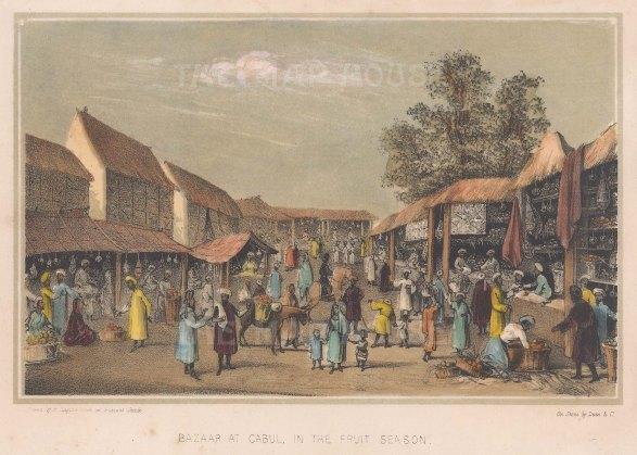 """Corner: Kabul. 1847. A hand coloured original antique lithograph. 7"""" x 5"""". [AFGp159]"""