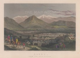 Kabul: View of the city the ancient Balar Hissar fortress looking towards the Koh-e Shirdarwaza Mountains.