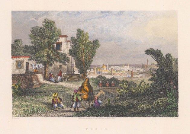 """Temple: Tunis, Tunisia. c1840. A hand coloured original antique steel engraving. 9"""" x 7"""". [AFRp1106]"""