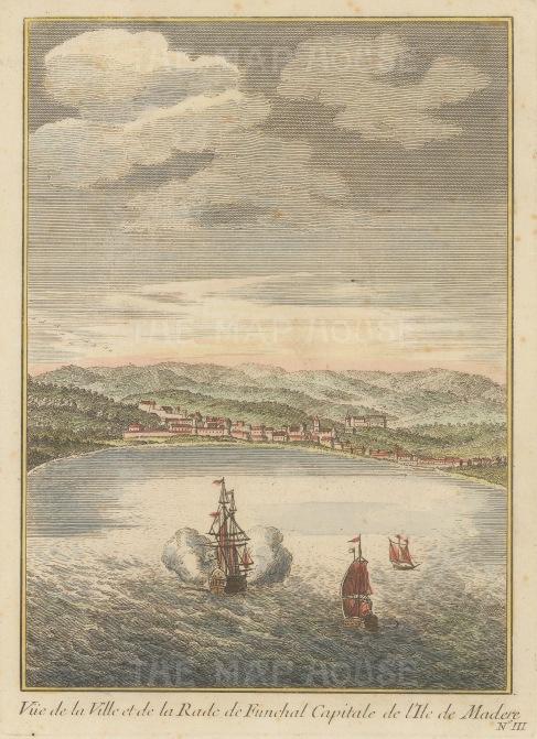 """Bellin: Madeira. c1760. A hand coloured original antique copper engraving. 6"""" x 8"""". [AFRp1151]"""