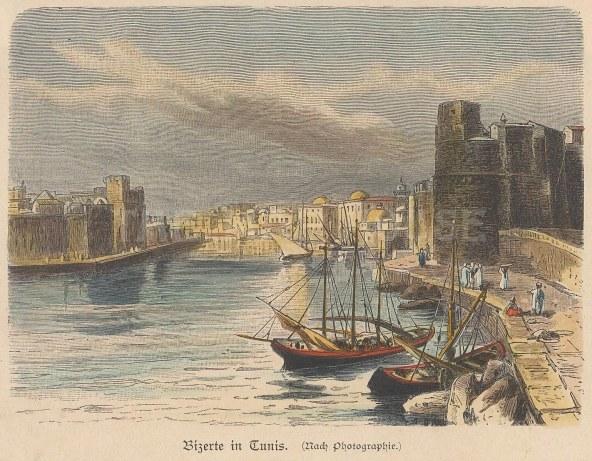 "Geiltbeck: Bizerte, Tunisia. 1897. A hand coloured original antique wood engraving. 5"" x 4"". [AFRp1168]"