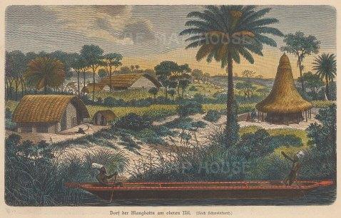 """Geiltbeck: Mangbetu Tribe, Congo. 1897. A hand coloured original antique wood engraving. 7"""" x 5"""". [AFRp1187]"""