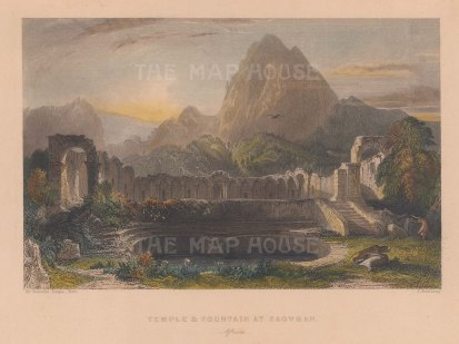 """Fisher: Zaghouan, Tunisia. 1841. A hand coloured original antique steel engraving. 8"""" x 7"""". [AFRp1198]"""