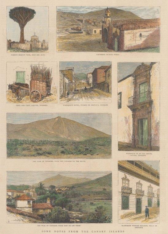 Eight views including panoramas of the peak and street views at Ferro, Puerto de Oratava and Laguna.
