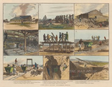 Witwatersrand, Transvaal. Nine scenes of gold mining.