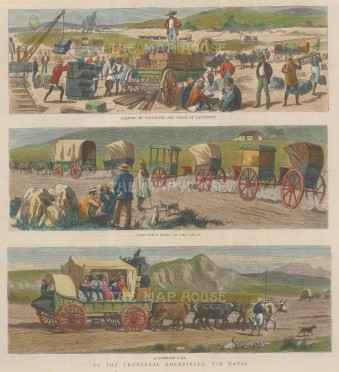 Transvaal. Three scenes of workers travelling to the goldfields via Natal.