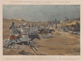 Morocco: The Sultan of Morocco on his Journey from Fez to Taza being acclaimed by tribesmen. Political commentary below.