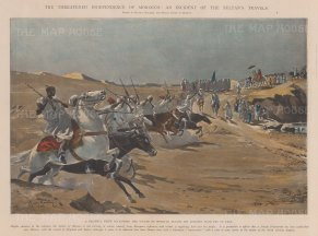 The Sultan of Morocco on his Journey from Fez to Taza being acclaimed by tribesmen. Political commentary below.