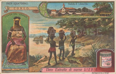 An inset of Libreville and another of a Congolese woman.