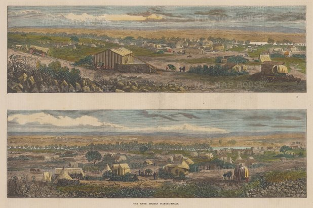Diamond Fields of South Africa: Double panorama showing the camps of the miners.