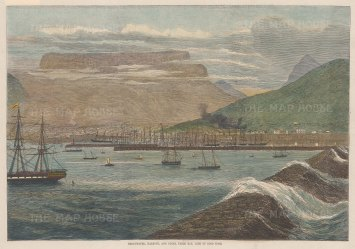 Panorama of Table Bay harbour, docks and breakwater.