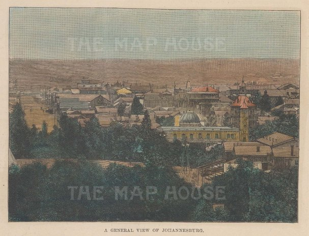 "Illustrated London News: Johannesburg. 1896. A hand coloured original antique wood engraving. 6"" x 5"". [AFRp1333]"