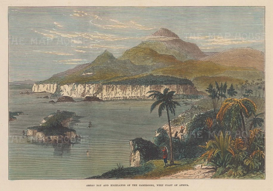 """Illustrated London News: Ambas Bay, Cameroon. 1873. A hand coloured original antique wood engraving. 10"""" x 7"""". [AFRp1335]"""
