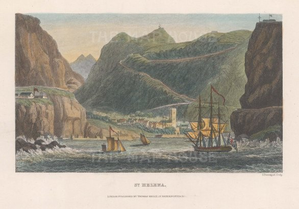 "Kelly: St Helena. c1840. A hand coloured original antique steel engraving. 7"" x 5"". [AFRp1339]"