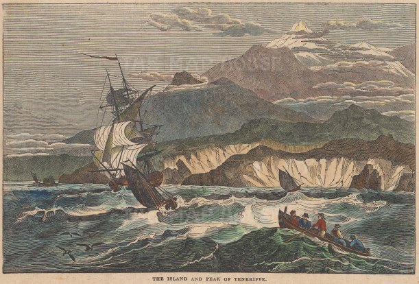 "Saturday Magazine: Tenerife, Canary Islands. 1834. A hand coloured original antique wood engraving. 9"" x 6"". [AFRp1343]"