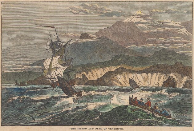 "Saturday Magazine: Tenerife, Canary Islands. 1834. A hand coloured original antique wood engraving. 9"" x 6"". [AFRp1343]"