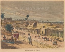 "Collins: Murzuk, Libya. c1870. A hand coloured original antique wood engraving. 8"" x 5"". [AFRp1350]"