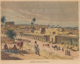 "Collins: Murzuk, Libya. c1870. A hand coloured original antique wood engraving. 8"" x 5"". [AFRp1350]"