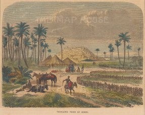 "Collins: Ederi, Nigeria. c1870. A hand coloured original antique wood engraving. 8"" x 5"". [AFRp1351]"