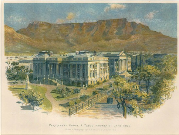 Parliament House and the surrounding gardens, with Table Mountain in the background.